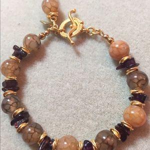 Jewelry - Bracelet lace agate, amethyst  gold vermeil