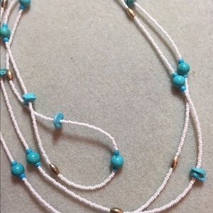 Jewelry - Long necklace authentic baby turquoise and beads.