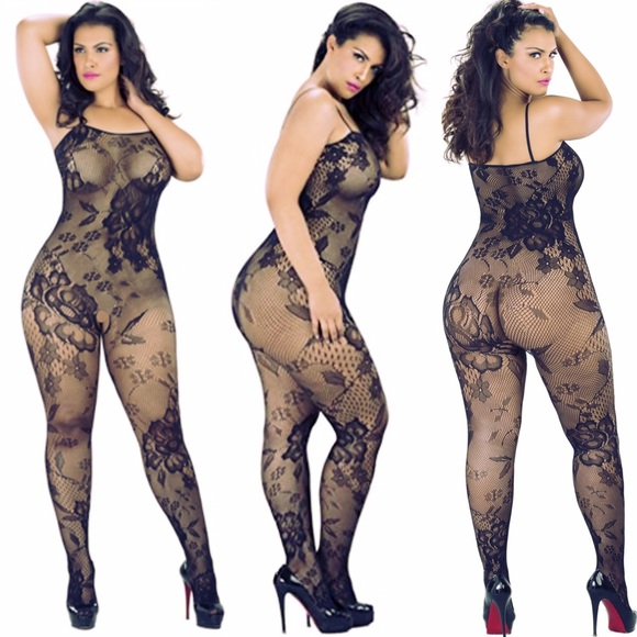 afe0494f2 NEW PLUSSIZE CROTCHLESS FLORALFISHNET BODYSTOCKING