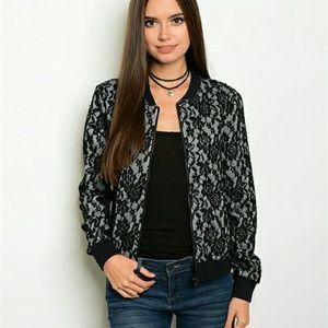 angelochekk boutique  Jackets & Blazers - SALE NWT BLACK GRAY LACE BOMBER JACKET