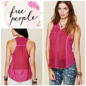 Free People We the Free buttondown tank - pink