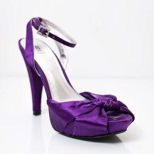 Bakers Shoes - Bakers Purple Satin Heels w/ Rhinestone Detail