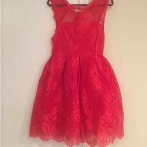 ❤️Red lace skater dress