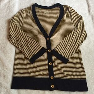 J.CREW perfect fit striped cotton cardigan size s