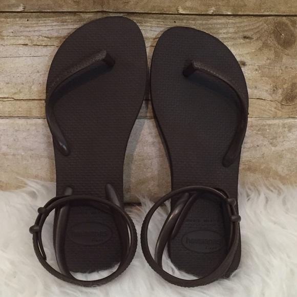 feafb9c62 Havaianas Shoes - Rare Havaianas Flash Brown Ankle Wrap Sandals 4 5