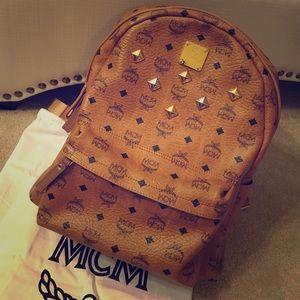 MCM Handbags - MCM Stark Medium Cognac Backpack