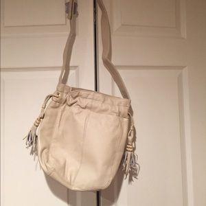 Handbags - Boho Cream Leather Cross body purse