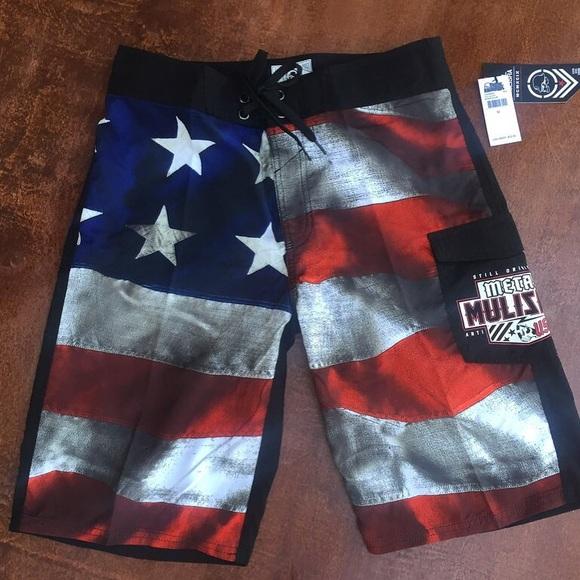 83b3663e9f37c Metal Mulisha Swim | Mens Old Glory Usa Flag Boardshorts | Poshmark