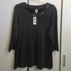 NWT! JM Collection Black Sparkle Tunic Top/Sweater