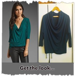 Zara Collection Teal Green Cowl/Draped Neck Top