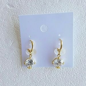 Jewelry - Sterling Silver Gold Plated CZ Earrings New