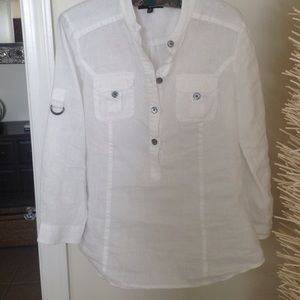 Saks Fifth Avenue Black Label Tops - White linen blouse by Saks Fifth Avenue.