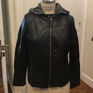 Gabriella Rocha Jackets & Blazers - Faux leather jacket with sweater vest hoodie