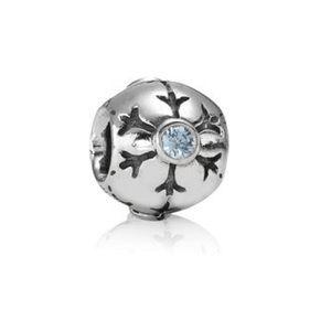 Pandora Sterling Silver & Aqua Snowflake Charm