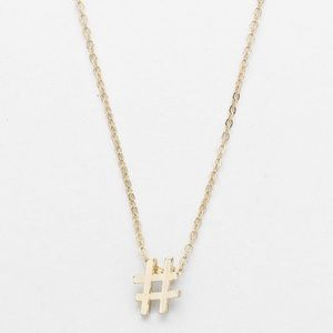 Jewelry - NWT TINY DAINTY HASHTAG EMOJI PENDANT NECKLACE