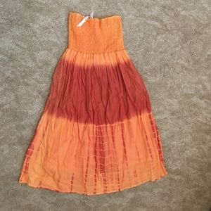 Orange/Coral tie-die tub top dress