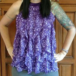 Epic Threads Tops - Pretty purple leopard flowy sleeveless top XL