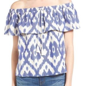 Madewell Tops - 'Balcony' Ikat Off the Shoulder Top