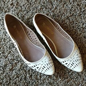 """Nude Leather """"New Moon"""" Cut-out Flats"""