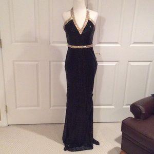 La Femme Dresses & Skirts - La femme long black sequence halter dress