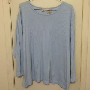 White Stag Tops - Baby blue ribbed knit long sleeved tee, 4X