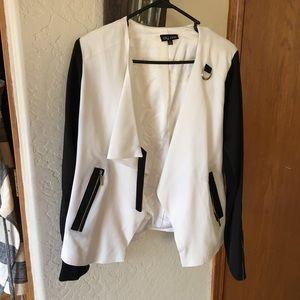 City Chic White & Black Moto Jacket