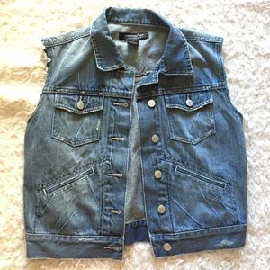 Denim cut off jean vest