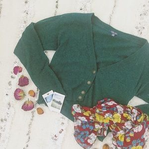 I Love H81 Sweaters - • Emerald Green Button V-Neck Crop Grandpa Cardi •