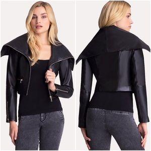 bebe Jackets & Blazers - Black Wide Collar Maleece Real Leather Moto Jacket