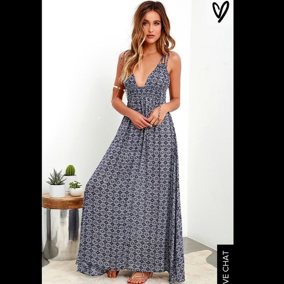 73ca479a1 Lulu's Dresses | Lulus Field Day Navy Print Maxi Dress | Poshmark