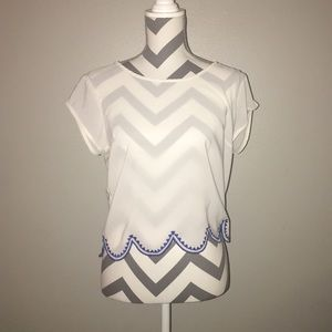 NWT Blue & White Scalloped Crop Top