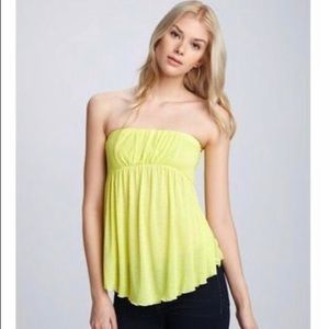 FREE PEOPLE Sleeveless Yellow Tube Top