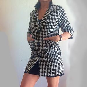 Diamond Check Pattern Long Jacket