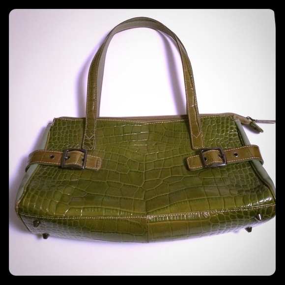 87dee358cdf Franco Sarto green crocodile pattern purse