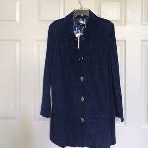 Brand new dark blue suede coat
