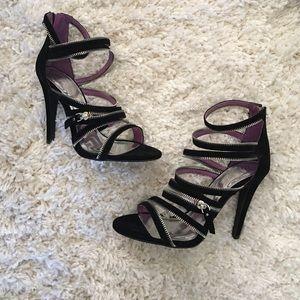 Shoedazzle Shoes - Shoedazzle-Strappy Zipper Pumps-Black-Size 8