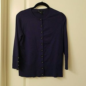 Audrey & grace Sweaters - 3/4 Sleeve Navy button Cardigan
