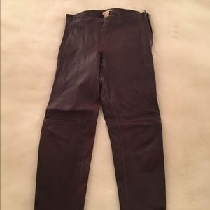 Burgundy Faux Leather Leggings - Size 4