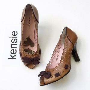Kenzie Shoes - Kenzie Leather Laser Cut Peep Toe Pump with Bow❤️