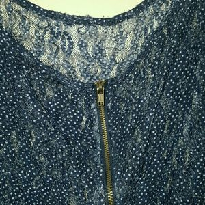 Maurices Tops - Maurices Navy Blue Sheer Zipper Top, Size 3 (plus)