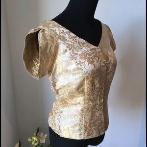 Vintage gold brocade blouse w/cap sleeve