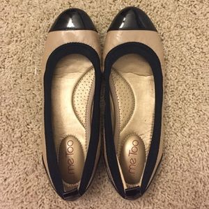 Nude & Black Patent Leather Flats