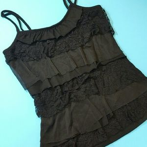 Tops - Black ruffles and lace tank top