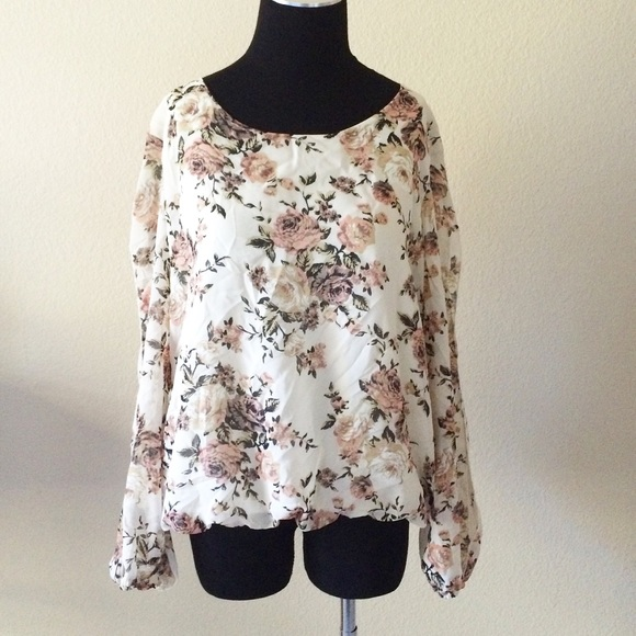 53e52c0205c72 Celine Tops - 3xl floral plus size bubble hem split sleeve top