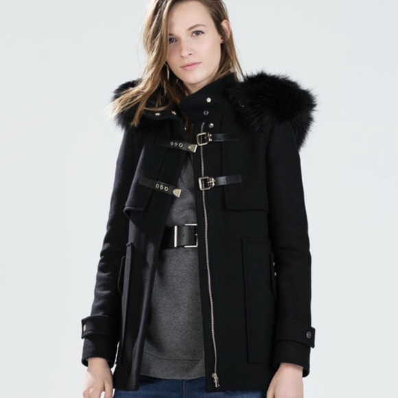 1056d96d84 Zara duffel faux fur black coat