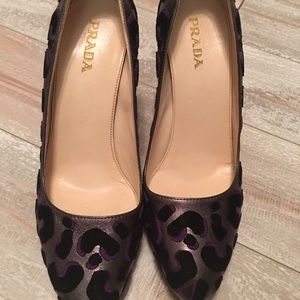 Prada purple grey leopard pumps size 38 1/2 sale!!