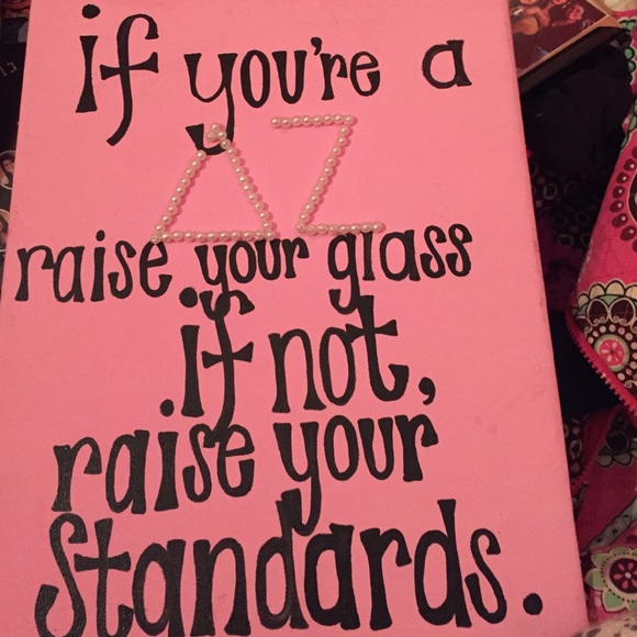 Delta zeta picture for wall-cute quote with pearls