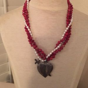 Jewelry - Genuine pearl, red coral and silver necklace