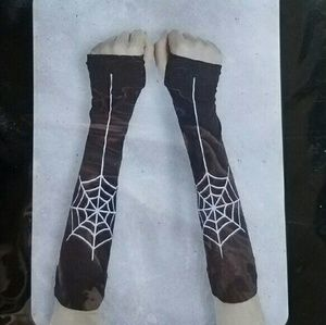 Black White Spiderweb Long Gloves Armwarmers