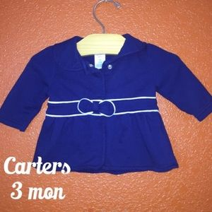 Carters Navy Blue and White Bow Light Jacket 3 mon
